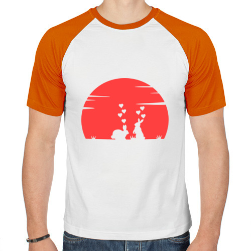 Мужская футболка реглан  Фото 01, Влюбленные зайки