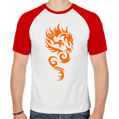 Мужская футболка реглан  Фото 01, Пылающий дракон