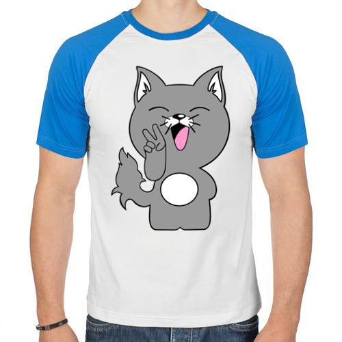 Мужская футболка реглан  Фото 01, Котик Peace