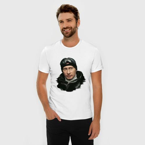 Мужская футболка премиум  Фото 03, Путин лыжник