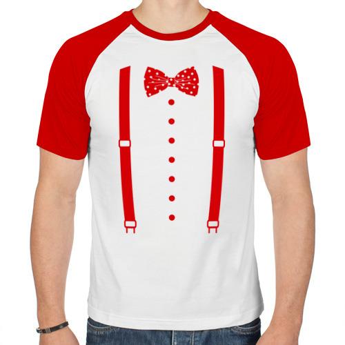 Мужская футболка реглан  Фото 01, Галстук бабочка в горошек
