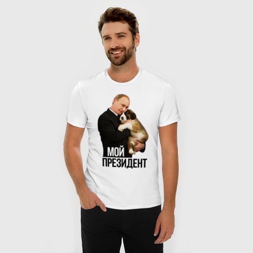 Мужская футболка премиум  Фото 03, Путин с собакой
