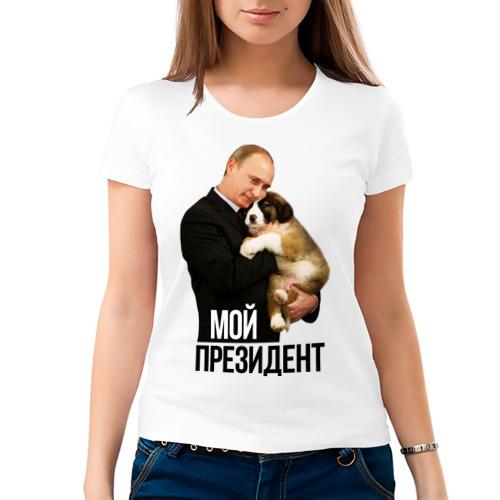 Женская футболка хлопок  Фото 03, Путин с собакой
