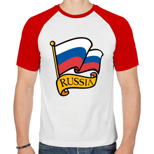 Мужская футболка реглан  Фото 01, Флаг России