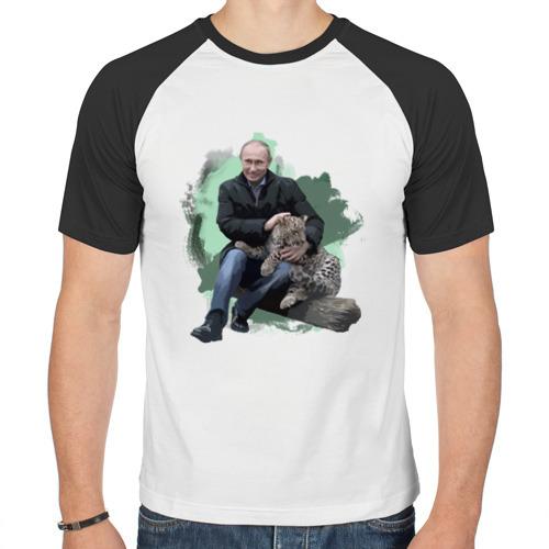 Мужская футболка реглан  Фото 01, Путин и леопард