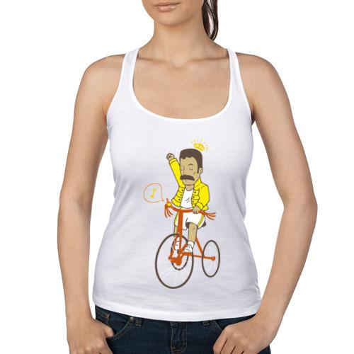Женская майка борцовка Фредди на велосипеде