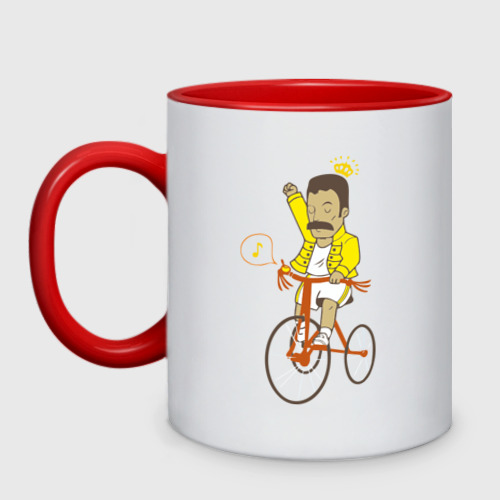 Кружка двухцветная Фредди на велосипеде
