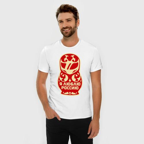 Мужская футболка премиум  Фото 03, Я люблю Россию (матрёшка)