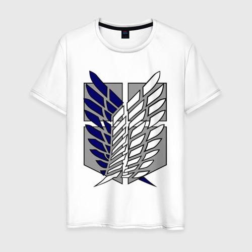 Мужская футболка хлопок Эмблема разведчиков. Вторжение титанов