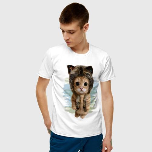 Мужская футболка хлопок Милый котик Фото 01