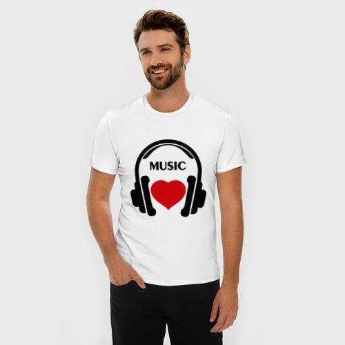 Мужская футболка премиум  Фото 03, Люблю музыку