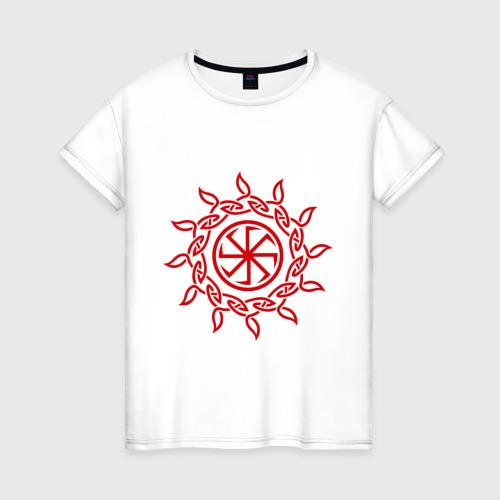 Женская футболка хлопок Солнцеворот с узором