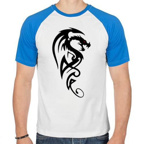 Мужская футболка реглан  Фото 01, Дракон (стильный трайбл)
