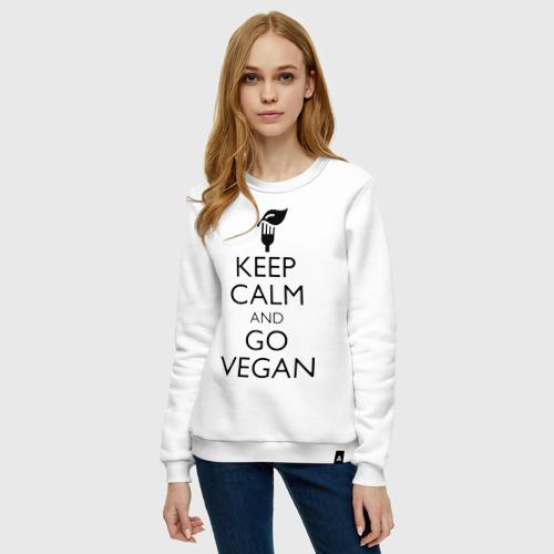 Женский свитшот хлопок Keep calm and go vegan Фото 01