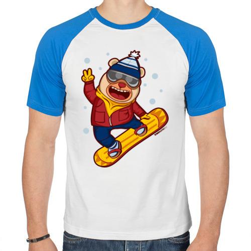 Мужская футболка реглан  Фото 01, Мишка сноубордист