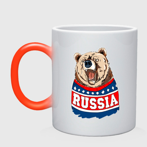 Кружка хамелеон Медведь made in Russia