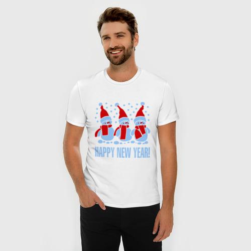 Мужская футболка премиум  Фото 03, Три снеговика