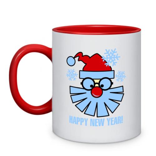 Кружка двухцветная Санта Клаус и снежинки от Всемайки