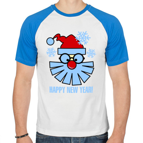 Мужская футболка реглан Санта Клаус и снежинки от Всемайки