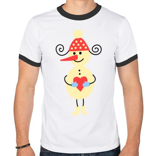 Мужская футболка рингер Снеговик от Всемайки