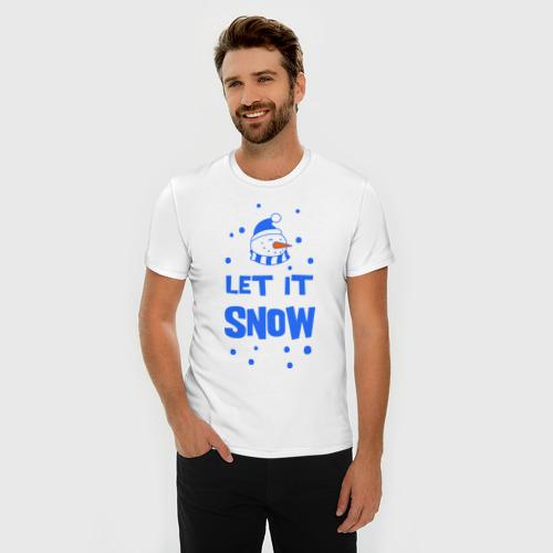 Мужская футболка премиум  Фото 03, Снеговик Let it snow