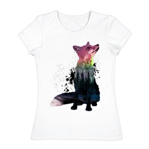 Женская футболка хлопок Лиса