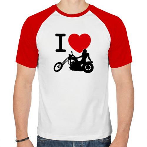 Мужская футболка реглан  Фото 01, Я люблю байк