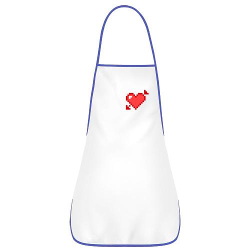 Фартук с кантом  Фото 01, Сердце со стрелой пиксели