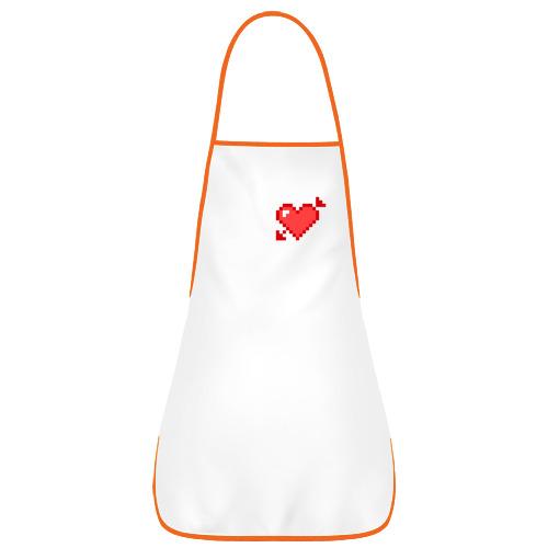 Фартук с кантом Сердце со стрелой пиксели