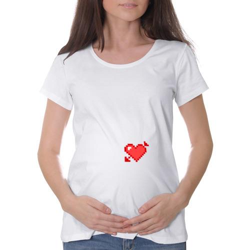 Футболка для беременных хлопок Сердце со стрелой пиксели