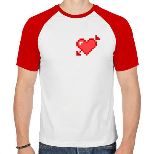 Мужская футболка реглан  Фото 01, Сердце со стрелой пиксели