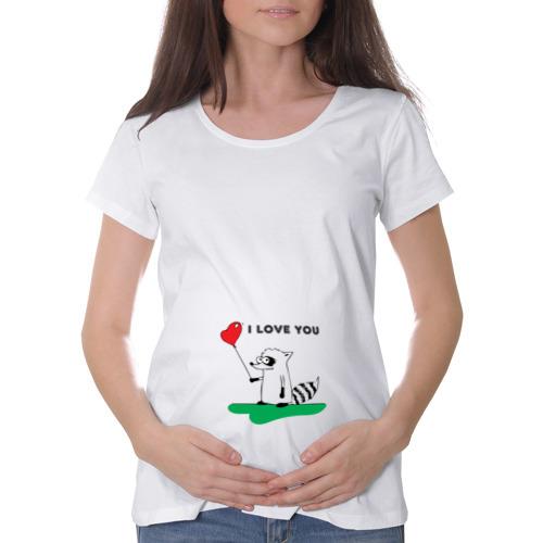 """Футболка для беременных хлопок  Фото 01, Енот \""""I Love You\"""""""