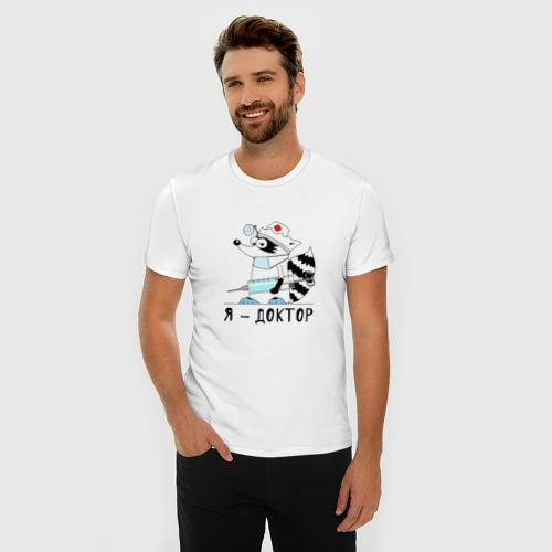 """Мужская футболка премиум  Фото 03, Енот """"Я - доктор!"""""""