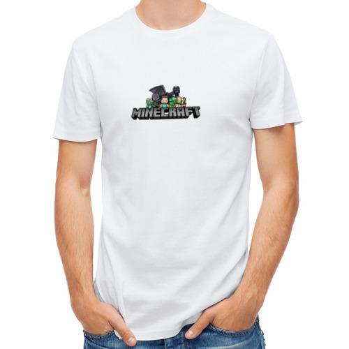 Мужская футболка полусинтетическая  Фото 01, Minecraft лого