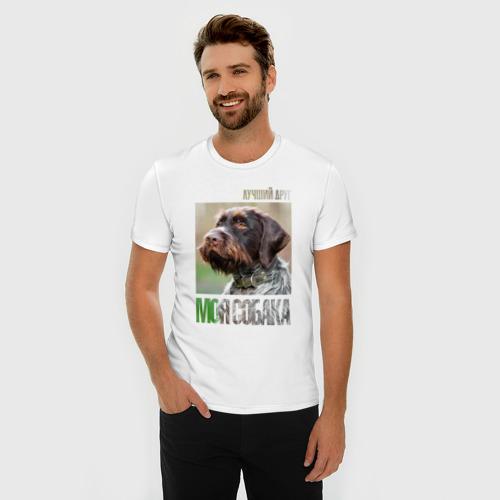 Мужская футболка премиум  Фото 03, Дратхаар, лучший, друг, собака