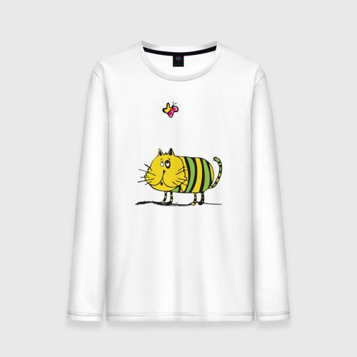 Мужской лонгслив хлопок  Фото 01, Кот и бабочка