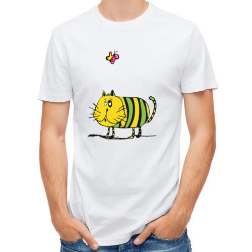 Мужская футболка полусинтетическая  Фото 01, Кот и бабочка