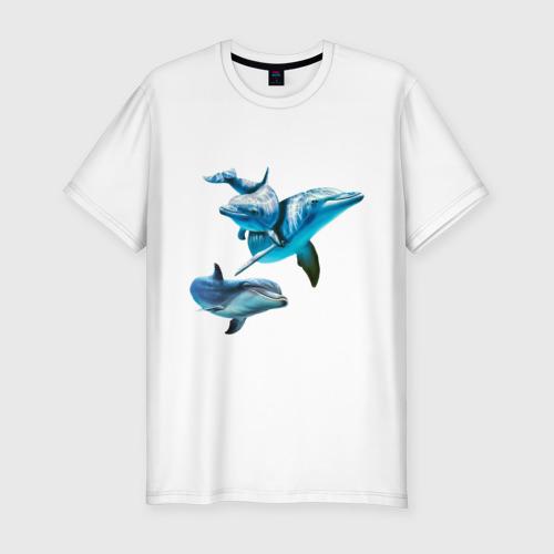 Мужская футболка премиум Дельфины