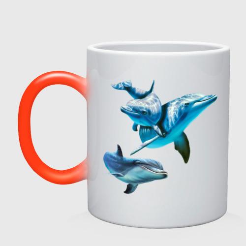 Кружка хамелеон Дельфины