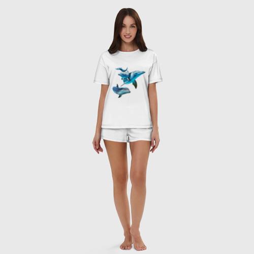 Женская пижама с шортиками хлопок Дельфины Фото 01