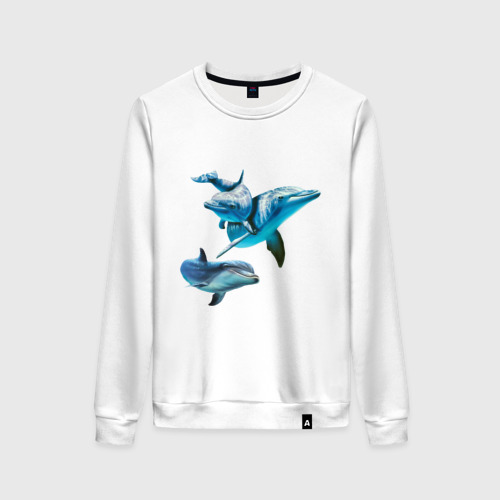 Женский свитшот хлопок Дельфины