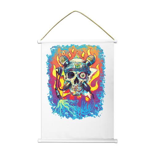 Тканевый плакат Music Skull