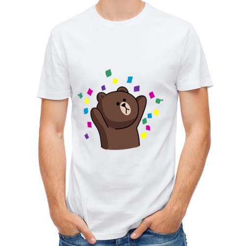 Мужская футболка полусинтетическая  Фото 01, Стикер Line мишка