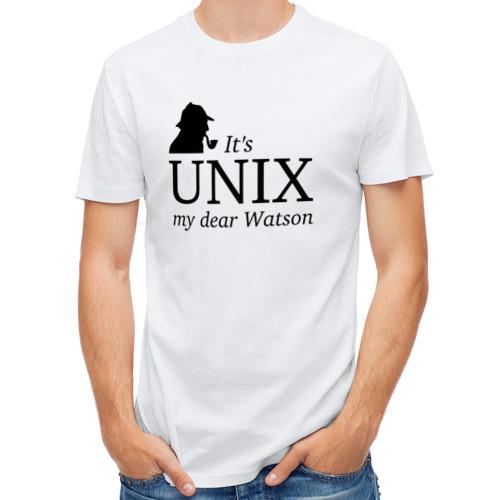 Мужская футболка полусинтетическая  Фото 01, It's Unix, my dear Watson