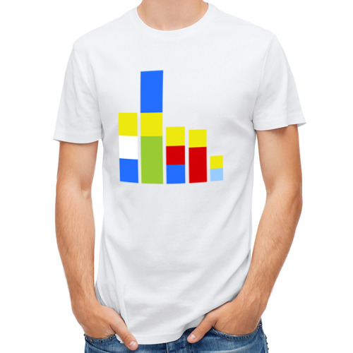 Мужская футболка полусинтетическая  Фото 01, Симпсоны кубики