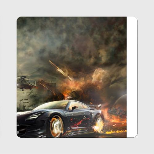 Магнит виниловый Квадрат Nissan GTR