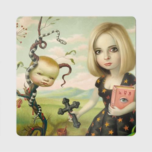 Магнит виниловый Квадрат  Фото 01, Девушка с книгой