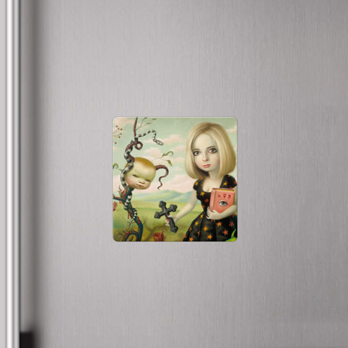 Магнит виниловый Квадрат  Фото 04, Девушка с книгой