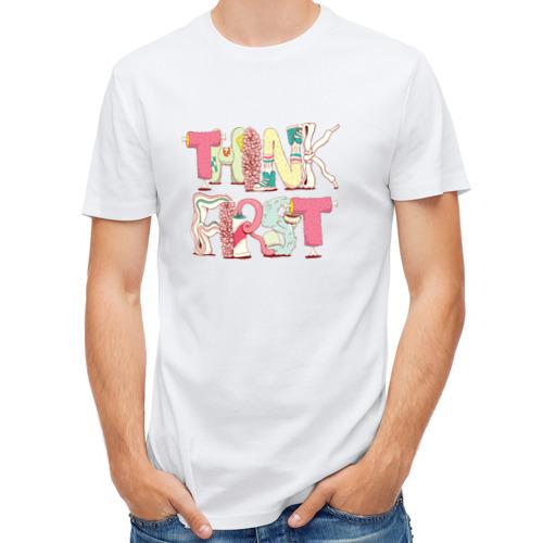 Мужская футболка полусинтетическая  Фото 01, Think first