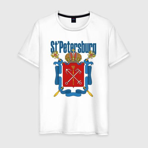 Мужская футболка хлопок Спб герб синяя база